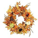Terynbat Sonnenblumenkranz, Halloween Dreifarbiger Kürbis Sonnenblumenkranz Ahornblatt Sonne Blumenkranz Türhänger Herbst Festival Dekoration