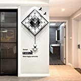 YVX Wanduhr Moderne dekorative Wanduhr mit Pendel, große quadratische einfache Pendeluhr, Holz schwarz weiß für Wohnzimmer Cafe Restaurant-schwarz52x81cm (20x32inch)