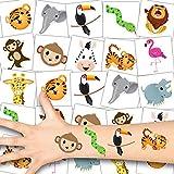 German Trendseller® 12 x Zoo Tier Tattoos - Tattoo temporär ┃ Safari Party ┃ Kindergeburtstag ┃ Mitgebsel ┃ Geschenkidee ┃ 12 Tattoos
