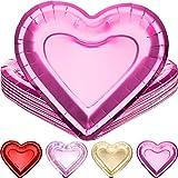 24 Stück dicke herzförmige Pappteller Valentinstag Einweg-Partyteller 26 cm große Größe Geschirr Teller Partygeschirr für Muttertag Hochzeit Party (Pink)