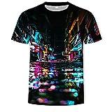 Herren T-Shirt 3D-Druck Lässig Sommer Herbst T-Shirts Kurzarm T-Shirt Top vorhanden,Neonstadt,4XL