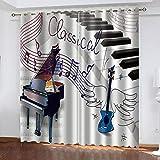 LWXBJX Verdunkelungsvorhang kinderzimmer - Musikinstrument Musik Klavier - 3D Druckmuster Öse Thermisch isoliert - 150 x 166 cm - 90% Blickdicht Vorhang für Kinder Jungen Mädchen Spielzimmer