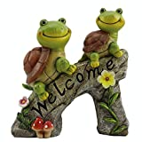 Gartendeko Schildkröte Solar Leuchte Gartendeko Skulptur Tierfigur Nette Tierskulptur mit Solar-LED-Licht Gartenfiguren für Außen Gartenskulpturen & Statuen Harz Schildkröte Ornament Pool Teich