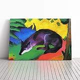 BIG Box Art Kunstdruck auf Leinwand, Motiv Franz Marc der Wolf, fertig gespannt, Wandbild auf Rahmen, Wandbild, Wohndeko für Küche, Wohnzimmer, Esszimmer, Schlafzimmer, Flur, Mehrfarbig, 20x14 Inch