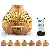 Hanmulee 400ml Aroma Diffuser, Luftbefeuchter Ultraschall Duftlampe Atomization Elektrisch Diffusor mit 7 Farben LED Ätherische Öle Luftbefeuchter für zuhause, Yoga, Büro, SPA, Schlafzimmer