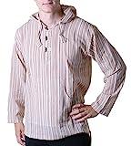 KUNST UND MAGIE Gestreiftes Fischerhemd Kurtha Überzieher Hemd Poncho Mittelalter mit Zipfelkapuze, Größe/Size:XL;Farbe:Sand/Beige