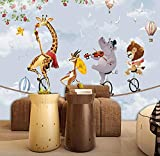3D-Wandbild für Kinderzimmer, Cartoon-Tier, Löwe, Elefant, Giraffe, Foto-Wand, Fresko, Kinderzimmer-Dekoration, Tapeten, 250 x 175