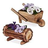 Relaxdays Pflanzengefäß Holz, 2 Stück, Pflanzschubkarre & halbes Blumenfass, Gartendeko, zum Bepflanzen, rustikal, N
