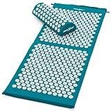 MAXXIVA® Akupressur-Set Matte 130 x 50 cm mit Kissen Petrol Yantramatte Fakirmatte stimuliert die Durchblutung, löst Verspannungen