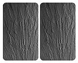 WENKO XL-Herdabdeckplatte Universal Schiefer 2er Set, Kochplattenabdeckung und Glas-Schneidebrett für alle Herdarten, Gehärtetes Glas, 40 x 52 cm, Schwarz (glänzendes Schwarz)