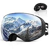 SKEY Skibrille Herren und Damen Snowboard Brille Doppel-Objektiv Anti-Fog UV-Schutz Winddicht Motocross Helmkompatible Magnetisch Verspiegelt Wechselobjektive für Ski Goggles Brillenträger OTG Silber
