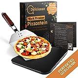 Deliciosso Pizzastein für Backofen Gasgrill [mit Heatwave-System] inkl. Edelstahl Pizzaschaufel Steinplatte Backstein Schwarz Rechteckig für Brot, Pizza | Jetzt Pizza Stein Brotbackstein aussuchen