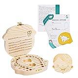 Navaris Zahnbox Holz Mädchen mit Zahnfee Urkunde - Milchzahndose Brief Vorlage - Aufbewahrung Zahn - Kinder Baby Milchzähne Box - Niederländisch