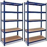 2x Deuba Schwerlastregal 180x90x40cm 875kg blau 5 MDF-Platten Lagerregal Kellerregal Steckregal Werkstattreg