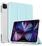 TiMOVO Hülle für New iPad Pro 11 2021 (3rd Gen), TPU Transluzenter Schutzhülle Rückendeckel Faltbar Magnetisch Case mit Stifthalter Kompatibel mit iPad Pro 11' 2021 - Himmelblau