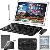 Tablet 10 Zoll Android 10.0 4G LTE Tablett PC mit 2 SIM Slot 4GB RAM 64GB ROM 128GB erweiterbar mit Tastatur Maus Stift Octa Core 1080P FHD SD Typ-C 6000mAh 13 MP Kamera Bluetooth WiFi GPS OTG, Silver