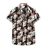 AILIEEE Hemd Herren Hawaii Hemd Männer Hemden Herren Kurzarm Freizeithemden Sommermode Casual Blumenhemd T-Shirt Palmblatt-Druck Sommerhemd Trachtenhemd Mehrere Stile(#303 Schwarz,S)
