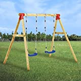 vidaXL Kiefernholz Schaukelgestell mit verstellbaren Seilen Schaukel Schaukelgerüst Kinderschaukel Gartenschaukel Doppelschaukel 230x130x166cm