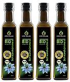 Kräuterland - Bio Schwarzkümmelöl gefiltert 1000ml (4x250ml) - 100% rein, schonend kaltgepresst, ägyptisch, vegan - Frischegarantie: täglich mühlenfrisch direkt vom H