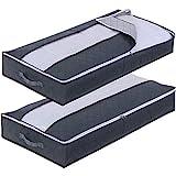2 Stück Unterbettkommode Aufbewahrungstasche für Bettdecken,Kleidung und Kissen Bettkasten Faltbare Unterbettbox mit Deckel