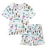 Julhold Kinderkleidung Bekleidungsset Kleinkind Kinder Baby Mädchen Jungen Cartoon Tops T-Shorts Set Pyjamas Outfits Kurzärmelige T-Shirt Top + Hosenanzug Sportkleidung(Rosenrot,90)