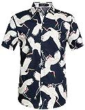 SSLR Herren Hawaiihemd Kurzarm Baumwolle Button Down Freizeit Hemd 3D Gedruckt Muster Aloha Shirt für Reise Strand (Large, Marine)