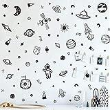 Kairne 79-teiliges Wandtattoo, für Kinderzimmer, Jungen, schwarz und weiß, Planet, Astronaut, Raketenmotiv, Wandsticker für Kinderzimmer, Baby, Kindergarten, Spielzimmer