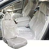 Iriisy 100 Stück Auto Einweg-Kunststoff-Sitzbezüge Transparent Werkstatt Schutzbezug Schutzfilm Sitzauflage Werkstattschoner