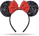 Glitzer Maus Ohren Haarreif in schwarz mit Schleife in rot & Pailletten für Erwaschene & Kinder
