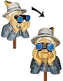 alles-meine.de GmbH Jäger / Opa mit Hut, Vogel & Fernglas - als  Spanner am Gartenzaun  - große XL Figur - aus Kunstharz - Gartenzwerg / Gartendeko Garten - Nachbar Reisen Urla..