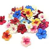 50 Stück Künstliche Blume, Fake Orchidee Blumenköpfe 6cm, Bunt Kunstblumen Seide Blütenköpfe Deko für Hausgarten Hochzeit Feste Partei Haus DIY Basteln Scrapbooking