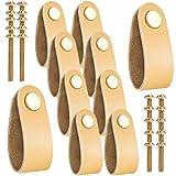 10 Stück handgefertigte Leder-Schubladengriffe, moderner Schrankgriff, Möbelknäufe mit 20 Schrauben für Zuhause, Schule oder Büro (Khaki)