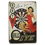1st warehouse Retro Pin Up Sexy Girls Blechschild, Wanddekoration für Zuhause, Garage, Mann, Höhle, Bar, 20 x 30 cm (Bull's Eye)