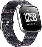 Gransho Uhrenarmband kompatibel mit Fitbit Versa 2 / Versa 2 SE/Versa Lite/Versa smartwatch, Stoff Leinen Uhrenarmband Uhr Ersatzband mit Schnellverschluss für Mann&Damen (Pattern 14)