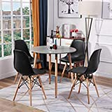 H.J WeDoo Esszimmergruppe mit Esstisch und 4 Essstühlen, Tischplatte aus MDF für Wohnzimmer Kü