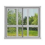 Mückenschutz Fliegenvorhang 70x105cm(28x41inch) Vollrahmen-Klettverschluss Fliegengitter Balkontür Luft kann Frei Strömen, für Flure/Windows/Wohnzimmer Fenstern, Grau A
