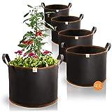AmazyPflanzsack 40L 5er Set (Ø40cm, Höhe 30cm) – Pflanzbeutel aus robustem Vlies – atmungsaktiv + widerstandsfähig | Pflanzsäcke für UrbanGardeningHobbygärtner zum Anbau von Gemüse & Obst