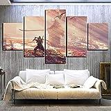 LMMLYR 5 Leinwandbilder Rahmen Wandbilder Wohnkultur Stirb Zweimal Videospiel Poster Wandaufkleber Leinwandbilder Für Wanddekoration Hd Ninja Picture Painting 100X55