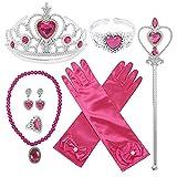 Pveath Princess Dress Up Accessoires Set für Mädchen Party Kostümzubehör, inklusive Princess Crown, Zauberstäbe, Armband, Ringe, Halskette, Handschuhe, Ohrringe, 9-TLG (rosarot)