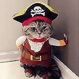 Idepet Haustierkostüm für Hunde und Katzen, lustiges Piraten-Motiv, inkl. Hut