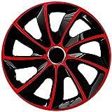 Radkappen 4er Set 17 Zoll schwarz rot Stig Extra NRM, Radzierblenden schw