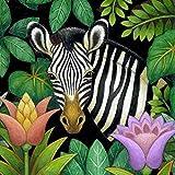 Hqingci DIY Diamantmalerei nach nummeriertem Kit, Vollbohr-Kreuzstich-Kunsthandwerk-Wanddekoration Zebra-Pflanze 40 * 50 cm