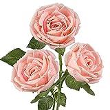 3 PCS Künstliche Rosen Kunstblumen Rosenzweig Kunstrosen Seidenrosen Einzelner Stiel Brautstrauß Gefälschte Rose für Hochzeit Wohnzimmer Party Blumenarrangement