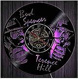 Wanduhr Aus Vinyl Schallplattenuhr LED Uhr Muster Mit Bud Spencer Terence Hill 3D Design Familien Deko Kunst Geschenk 7 Farben Mit Fernbedienung Stille Uhren 30Cm/12I