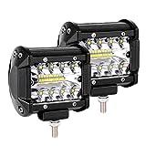 Arbeitsscheinwerfer, LTPAG 2 x 120W LED Arbeitsscheinwerfer 4 Zoll 12000LM 6000K IP68 Wasserdicht Offroad Scheinwerfer Arbeitslicht mit 40 LEDs Zusatzscheinwerfer Bar Car LED Spotlight 3 R