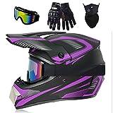 Joryoc | Motorradhelm | Motocross Helm | Downhill Helm | Crosshelm | Fullface Helm MTB | ABS-Schale, EPS-Futter mit Brille Handschuhe Maske (lila, L(59-60cm))
