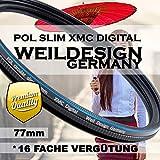 Polfilter POL 77 mm Circular Slim XMC Digital Weil Design Germany SYOOP * Kräftigere Farben * mit Frontgewinde, 16 Fach XMC vergütet * inkl. Filterbox * zirkulare (POL Filter 77mm)