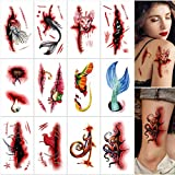 Qpout 12 Blatt Narben Temporäre Tattoos, Blut Tattoos Aufkleber, Tribal Totem Wasserdicht Tattoos Für Männer Frauen Geburtstag Tribal Cosplay Halloween Party Makeup Dek