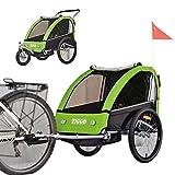 Tiggo Kinderfahrradanhänger Fahrradanhänger Jogger 2in1 Anhänger Kinderanhänger BT605-D02 GRÜN