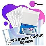 LogicaShop Fly Klarsichthüllen, A4, Kunststoff, mit Löchern, für Dokumente, gelochte Hüllen, Universal-Lochung, 22 x 30 cm (glänzend, 200 Stück)